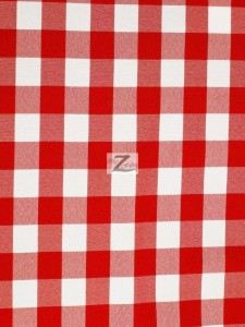Checkered Gingham 100% Polyester Poplin Fabric Red
