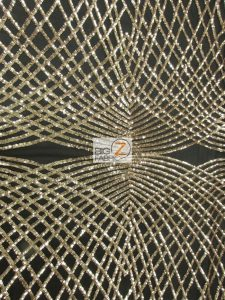Unique Diamond Designer Sequin Fabric Light Gold