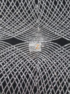 Unique Diamond Designer Sequin Fabric Silver