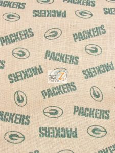NFL Licensed Burlap Fabric Green Bay Packers