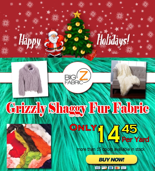 Grizzly Shaggy Fake Fur Fabric Sale