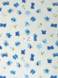 Butterfly Print Flannel Fabric Blue