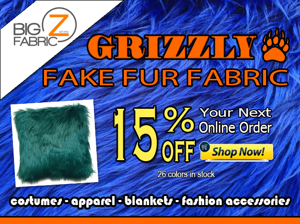 Solid Grizzly Shaggy Fake Fur Fabric Sale