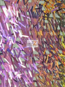 Spike Sequins Holographic Mesh Fabric Multi Purple