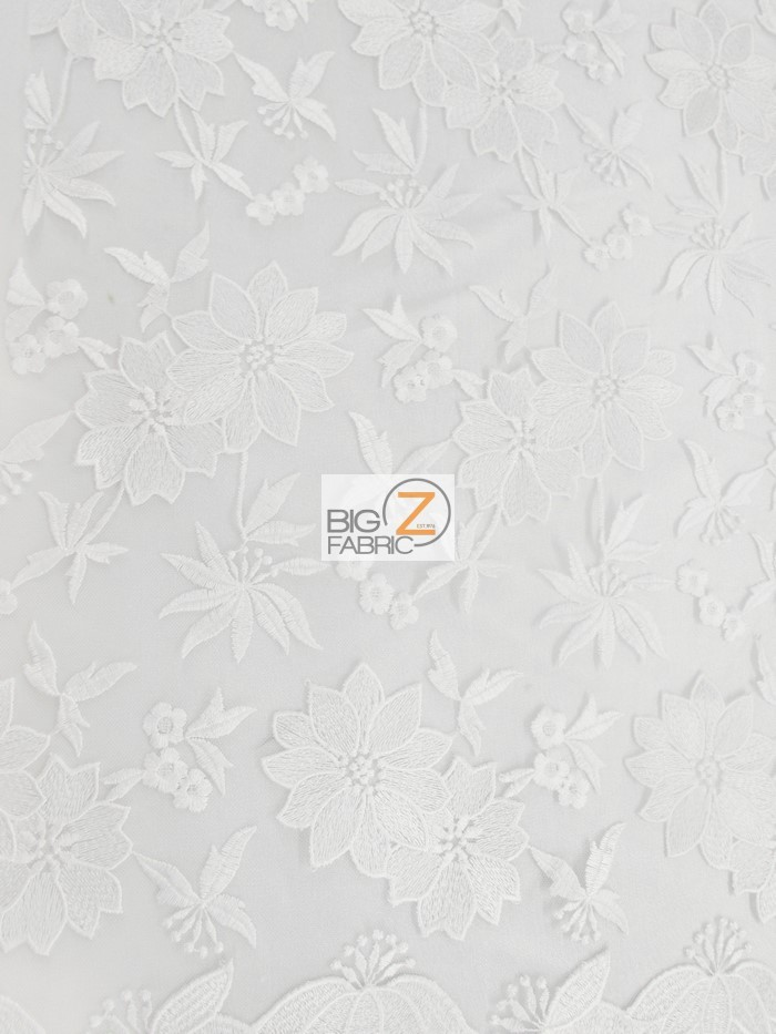 Floral Dove Embroidery Lace Fabric