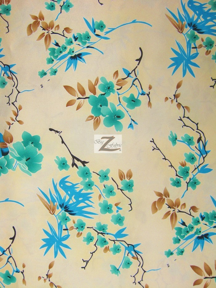 Quince Blossom Floral Satin Fabric