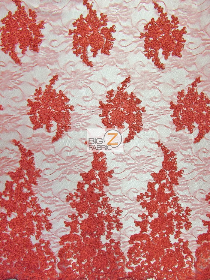 Red Serenity Floral Sheer Lace Fabric