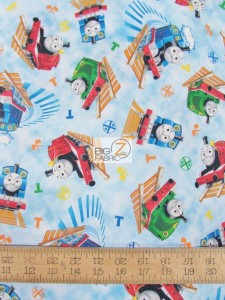 Thomas The Tank Railroad Toss Cotton fabric