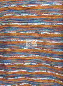 Traditional Mexican Poncho Fabric Rainbow