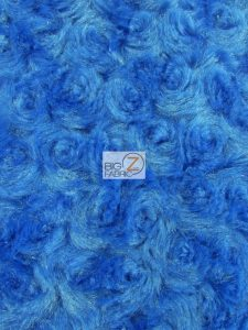 Floral Rosette Minky Fabric Ocean Blue