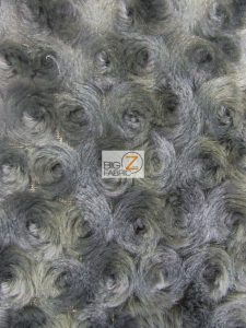 Floral Rosette Minky Fabric Raccoon Grey
