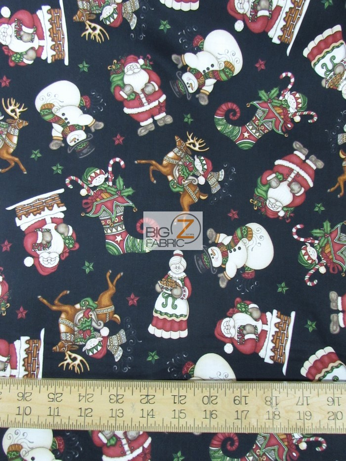 Holly Jolly Santa Is Here Black By RJR Fabrics Cotton Fabric