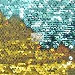 Reversible Mermaid Sequins Fabric Shiny Aqua/Shiny Gold
