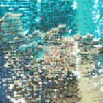Reversible Mermaid Sequins Fabric Shiny Aqua/Shiny Silver