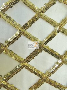 Golden Diamond Sequins Dress Fabric Champagne