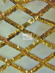 Golden Diamond Sequins Dress Fabric Gold