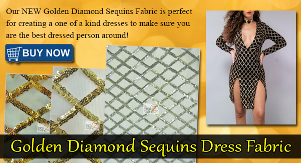 Golden Diamond Sequins Dress Fabric