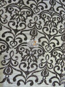 Unique Vintage Damask Sequins Fabric Black