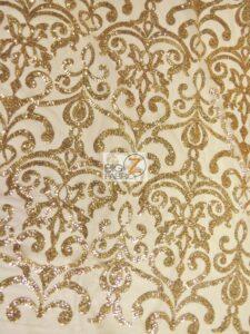 Unique Vintage Damask Sequins Fabric Champagne