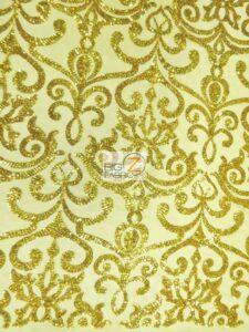 Unique Vintage Damask Sequins Fabric Gold