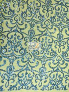 Unique Vintage Damask Sequins Fabric Sapphire