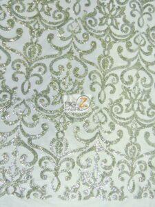 Unique Vintage Damask Sequins Fabric Silver