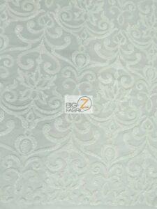 Unique Vintage Damask Sequins Fabric White
