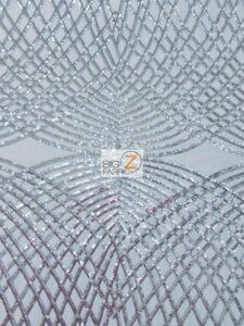 Unique Diamond Lace Sequin Dress Fabric Silver