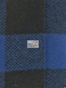 Buffalo Plaid Wool Fabric Blue