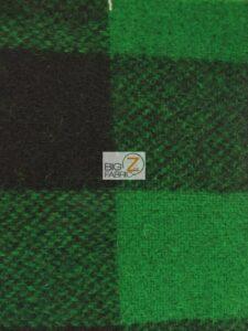 Buffalo Plaid Wool Fabric Green