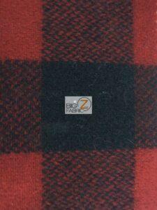 Buffalo Plaid Wool Fabric Red