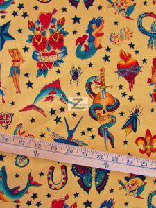Alexander Henry Tattoo Print Cotton Fabric Tan