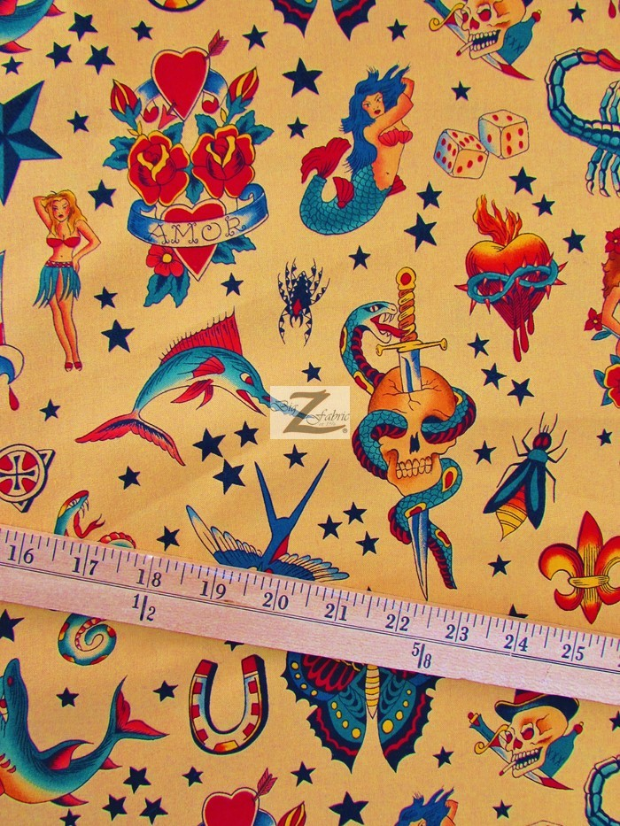 Alexander Henry Tattoo Print Cotton Fabric Tan