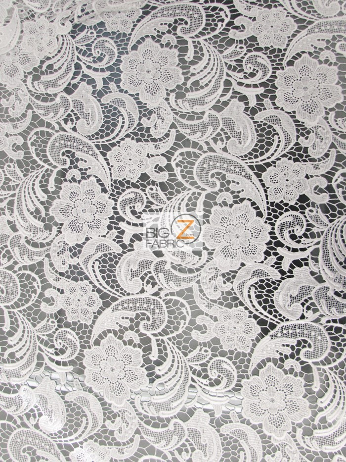 Rose Floral Paisley Guipure Venice Lace Fabric White