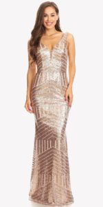 Floor Length Sequin Prom Dress
