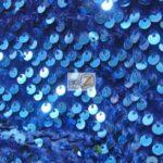 Rain Drop Sequin Stretch Velvet Fabric Royal Blue