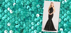 Velvet Sequins Prom Gown