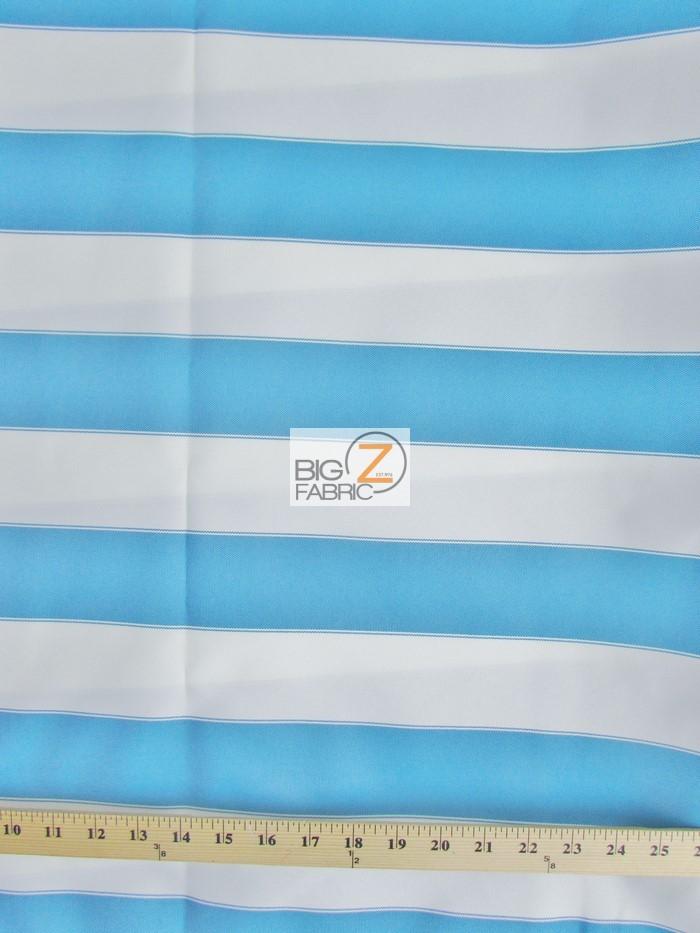 2 Tone Stripe Deck Canvas Outdoor Waterproof Fabric Aqua/White