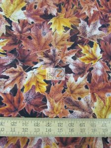cotton fabric with fall leaves print