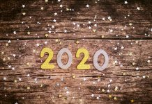 2020 with confetti