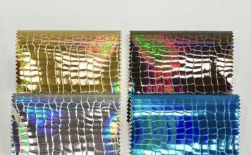 swatches of holographic fabric