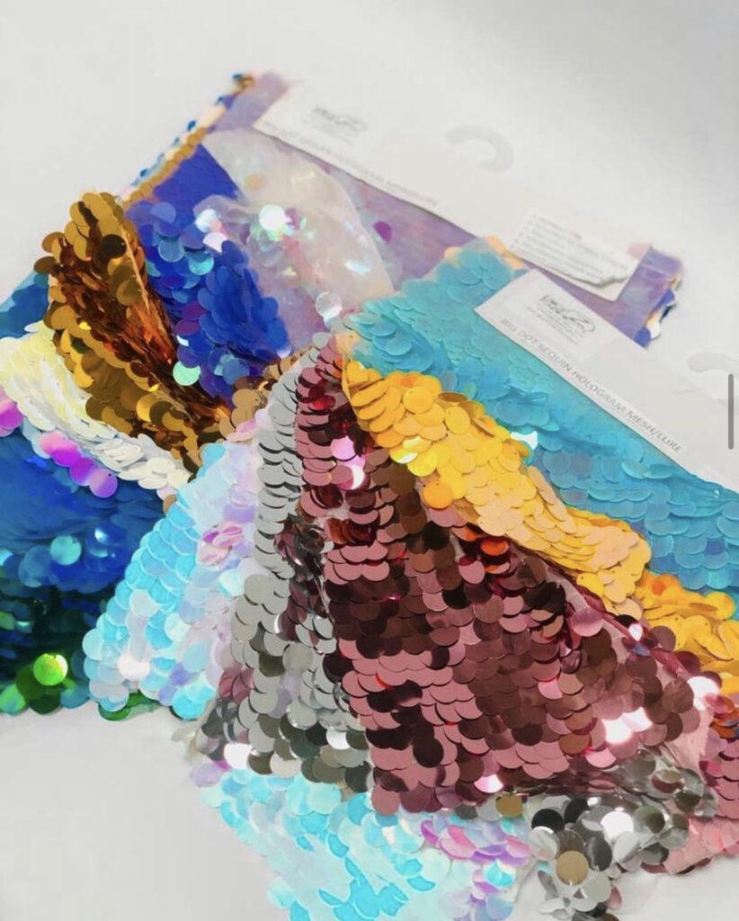 sequins fabric close up