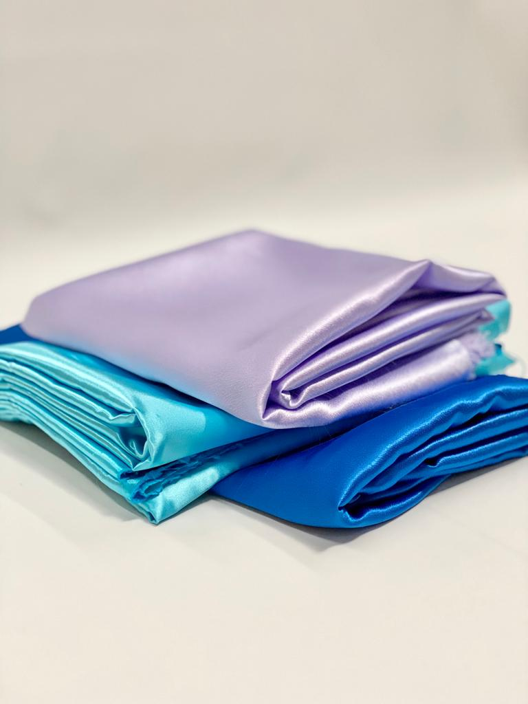 purple, aqua, blue satin fabric