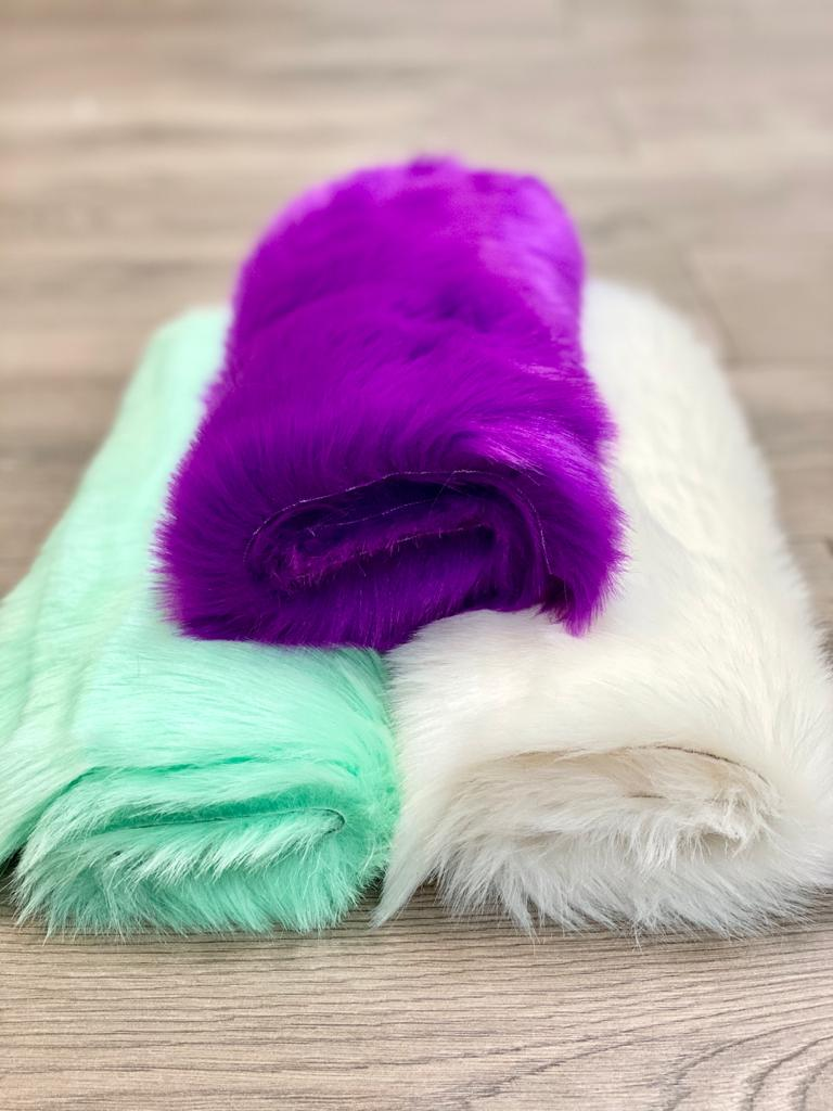 purple, green, ivory, faux fur