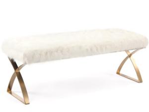 white faux fur bench