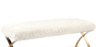 white faux fur bench