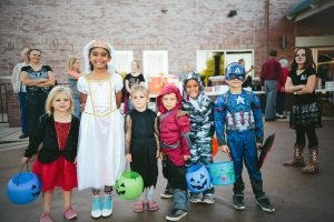 children wearing halloween costume