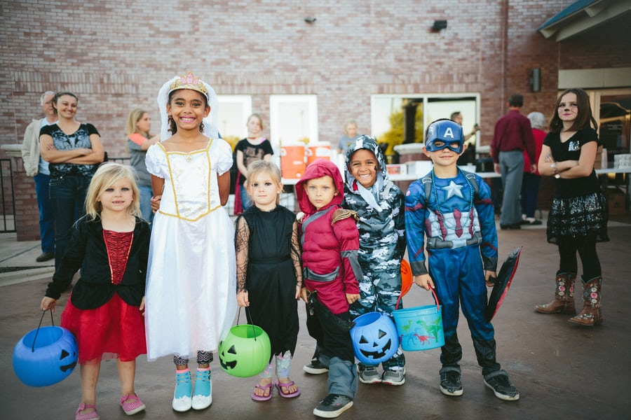 children wearing halloween costume