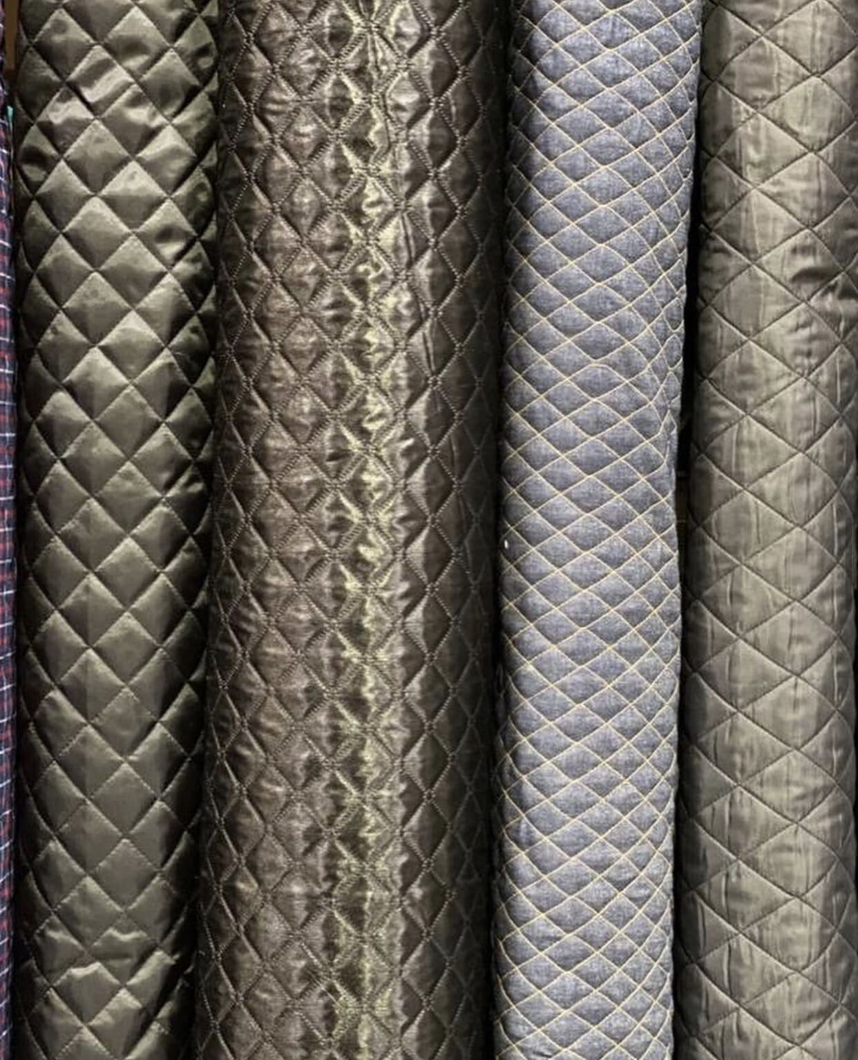 rolls of quilted batting fabric
