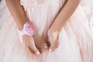 girl in pink chiffon dress